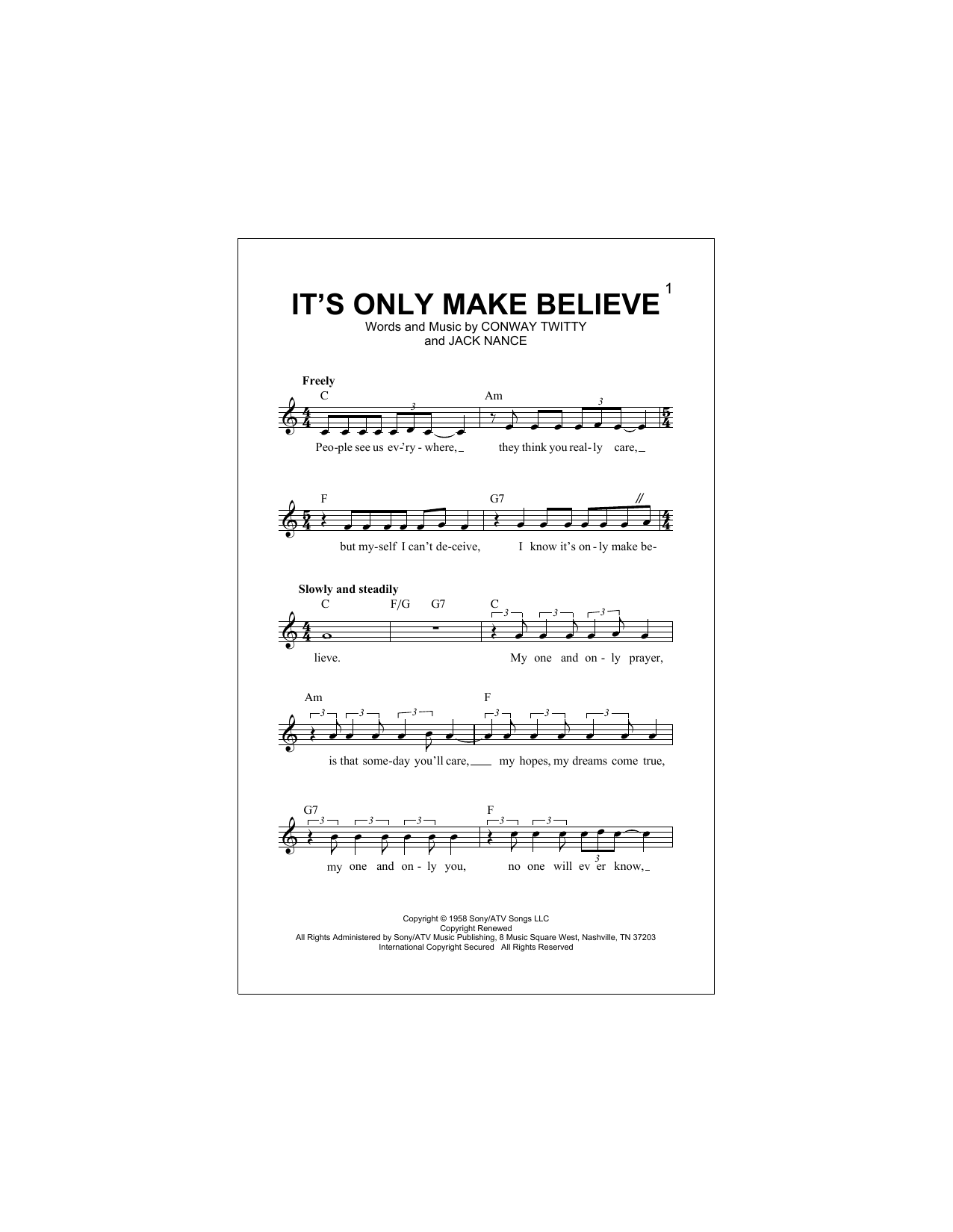 It's Only Make Believe (Lead Sheet / Fake Book)