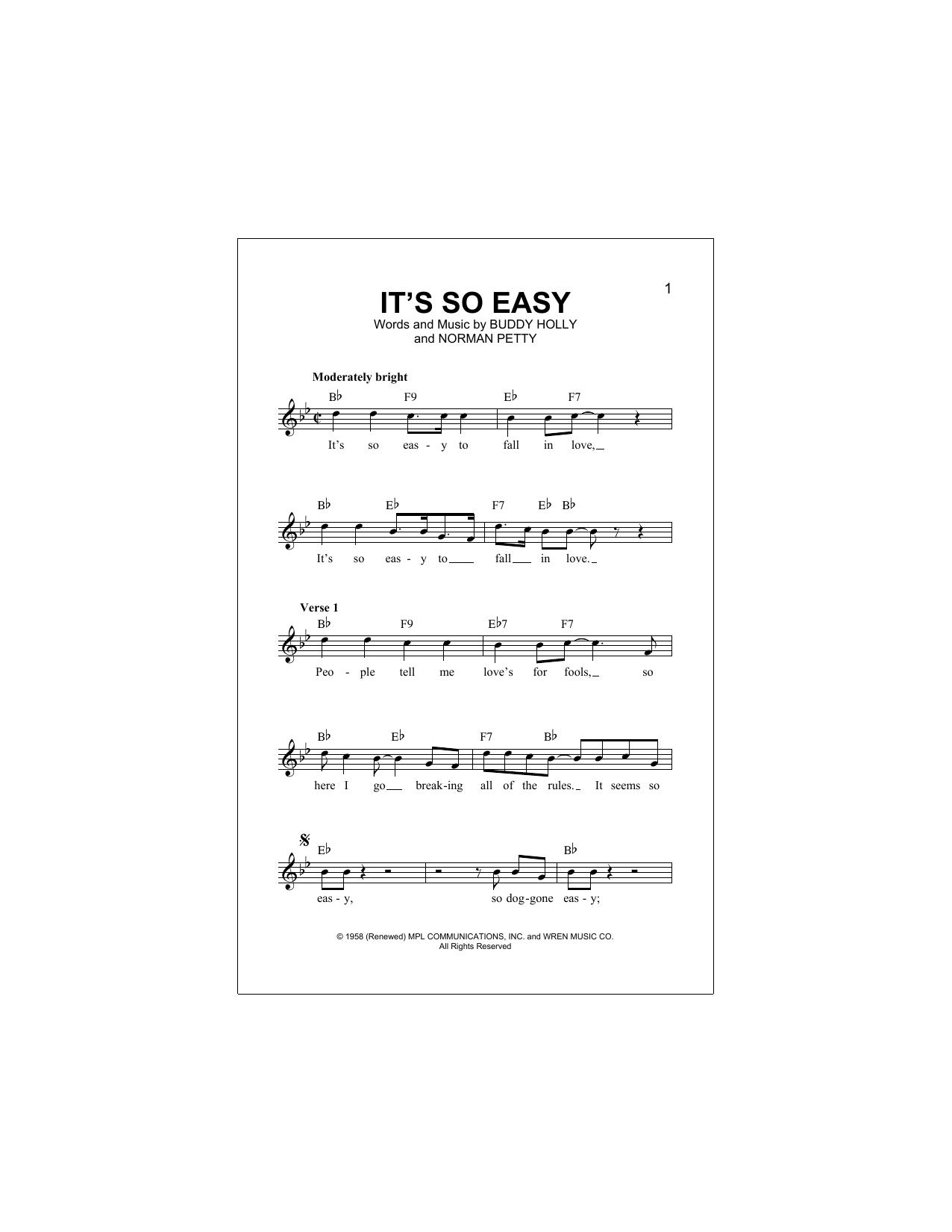 It's So Easy Sheet Music