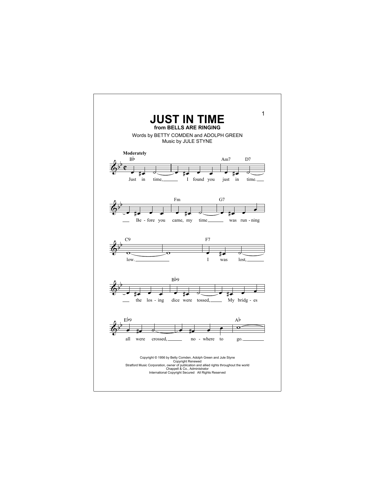 Just In Time Sheet Music