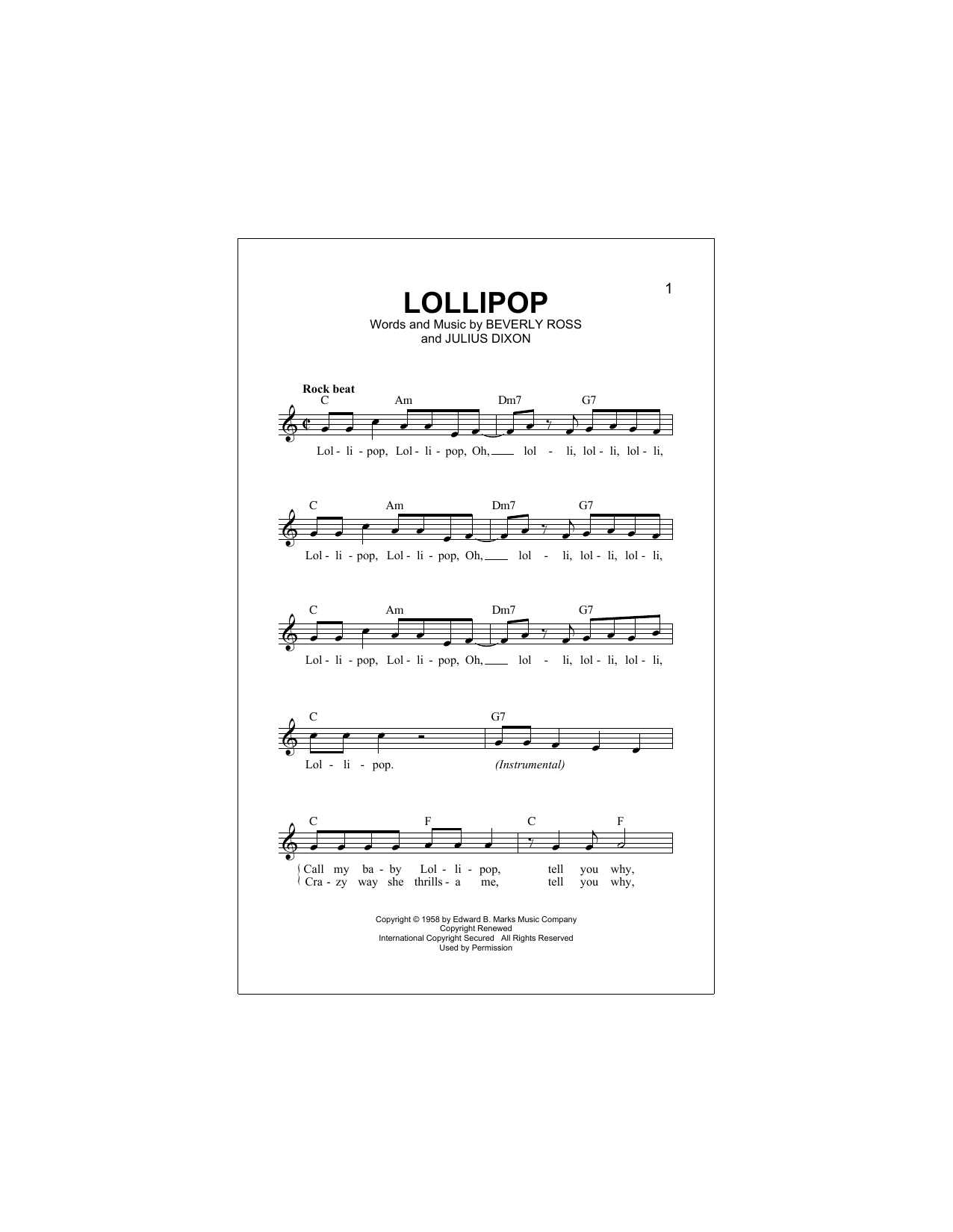 Lollipop Sheet Music
