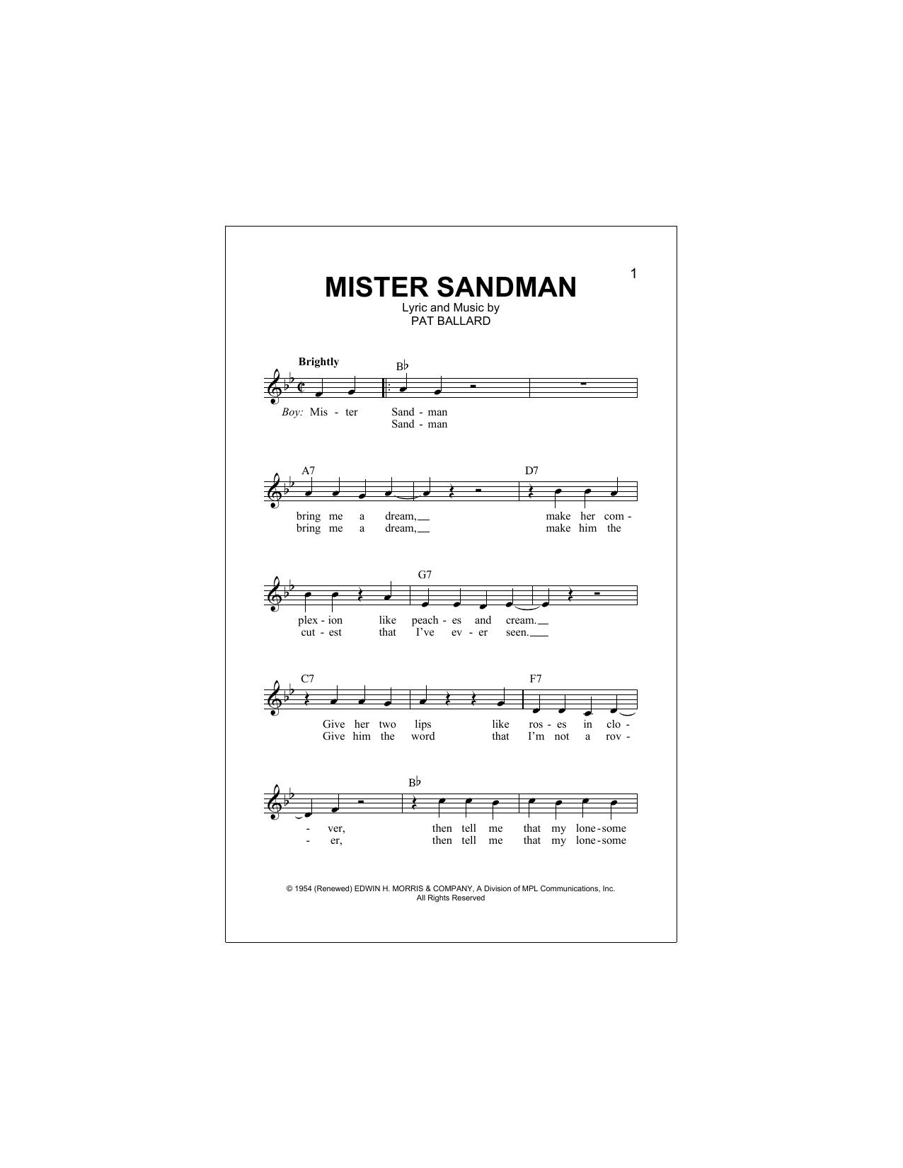 Mister Sandman (Lead Sheet / Fake Book)
