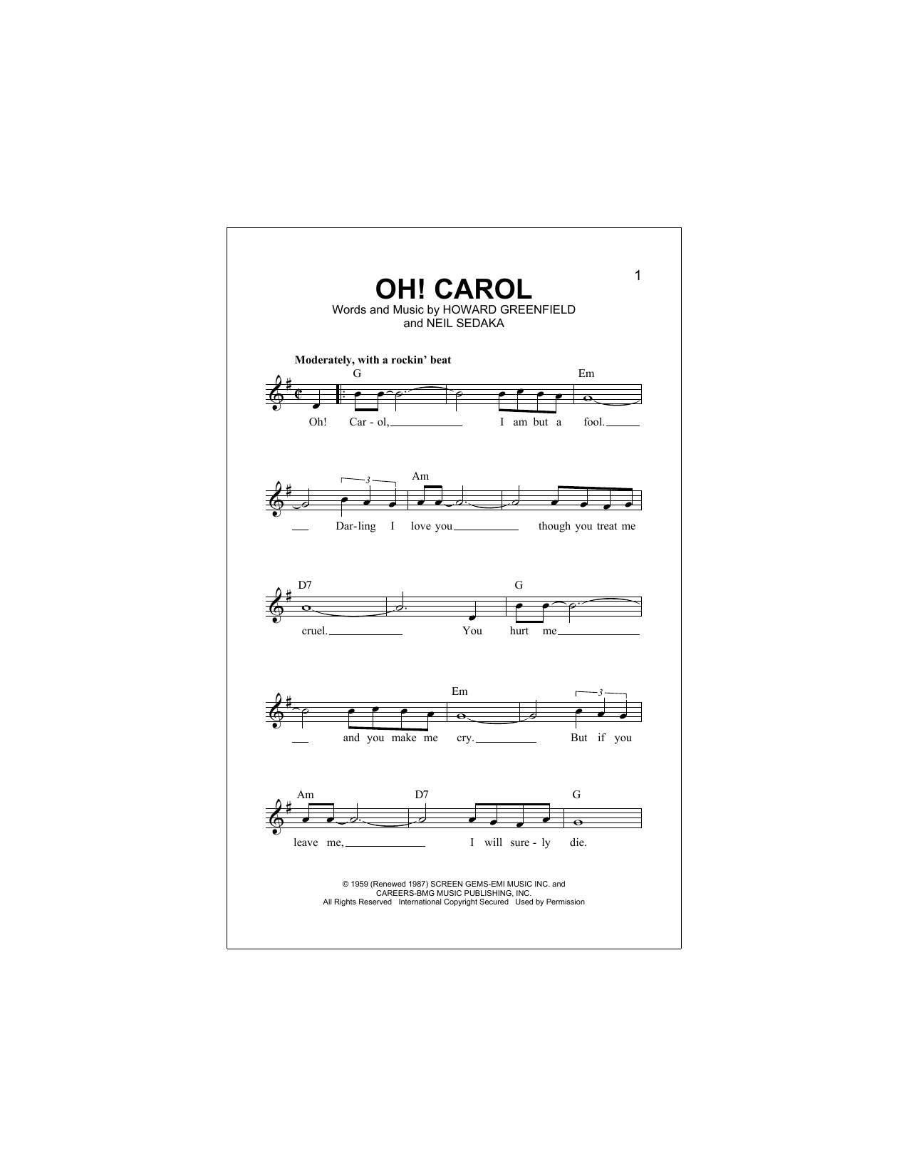 Oh! Carol Sheet Music
