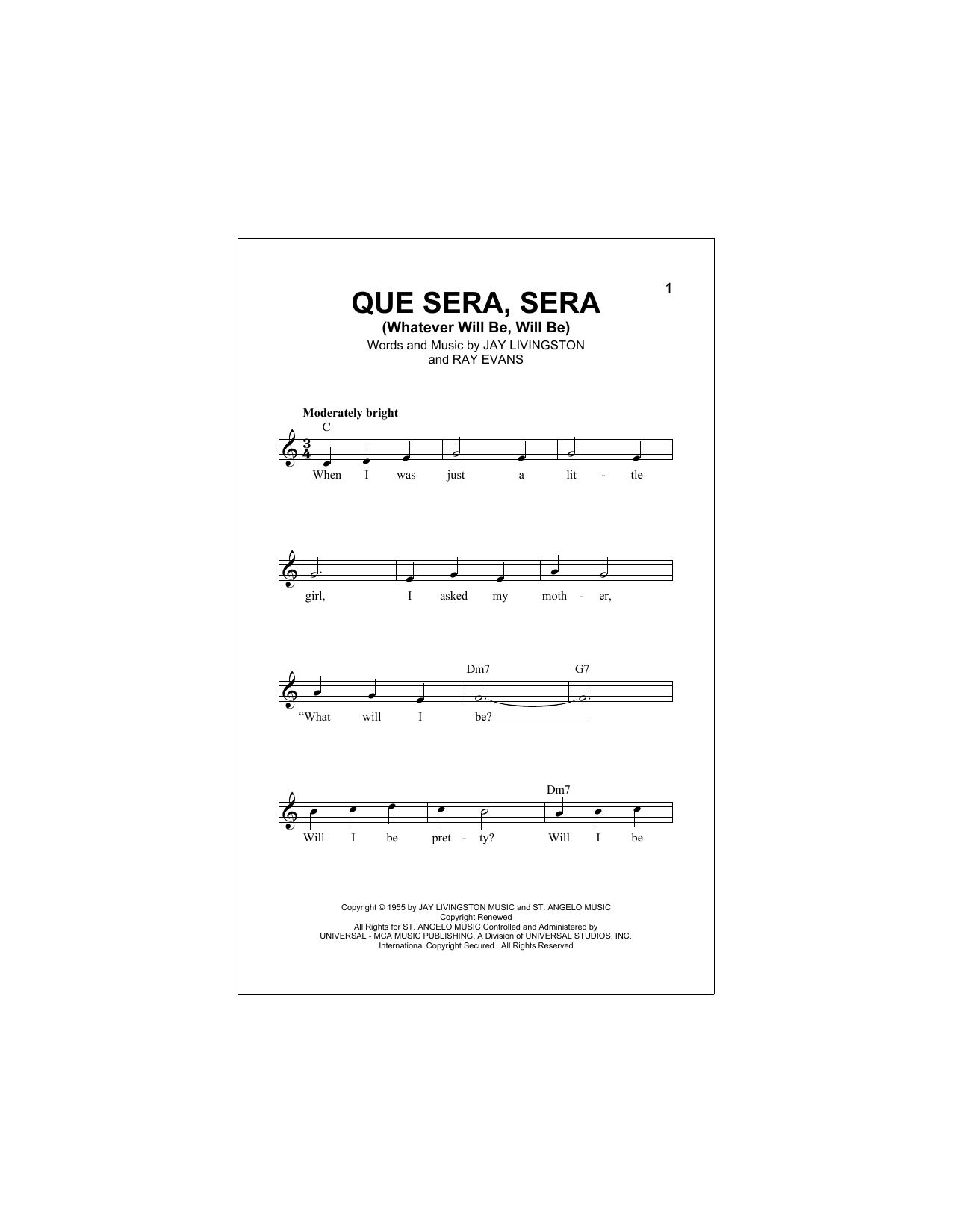 Que Sera, Sera (Whatever Will Be, Will Be) Sheet Music