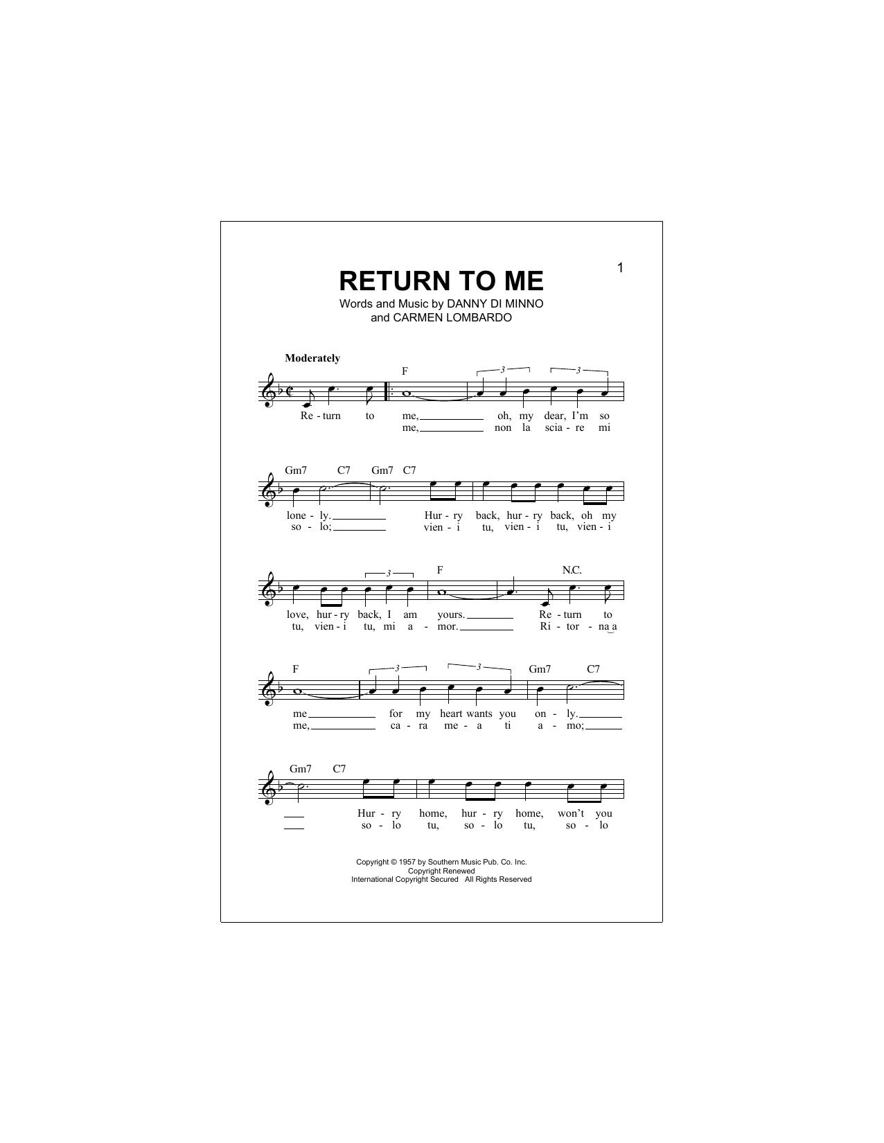 Return To Me Partition Digitale