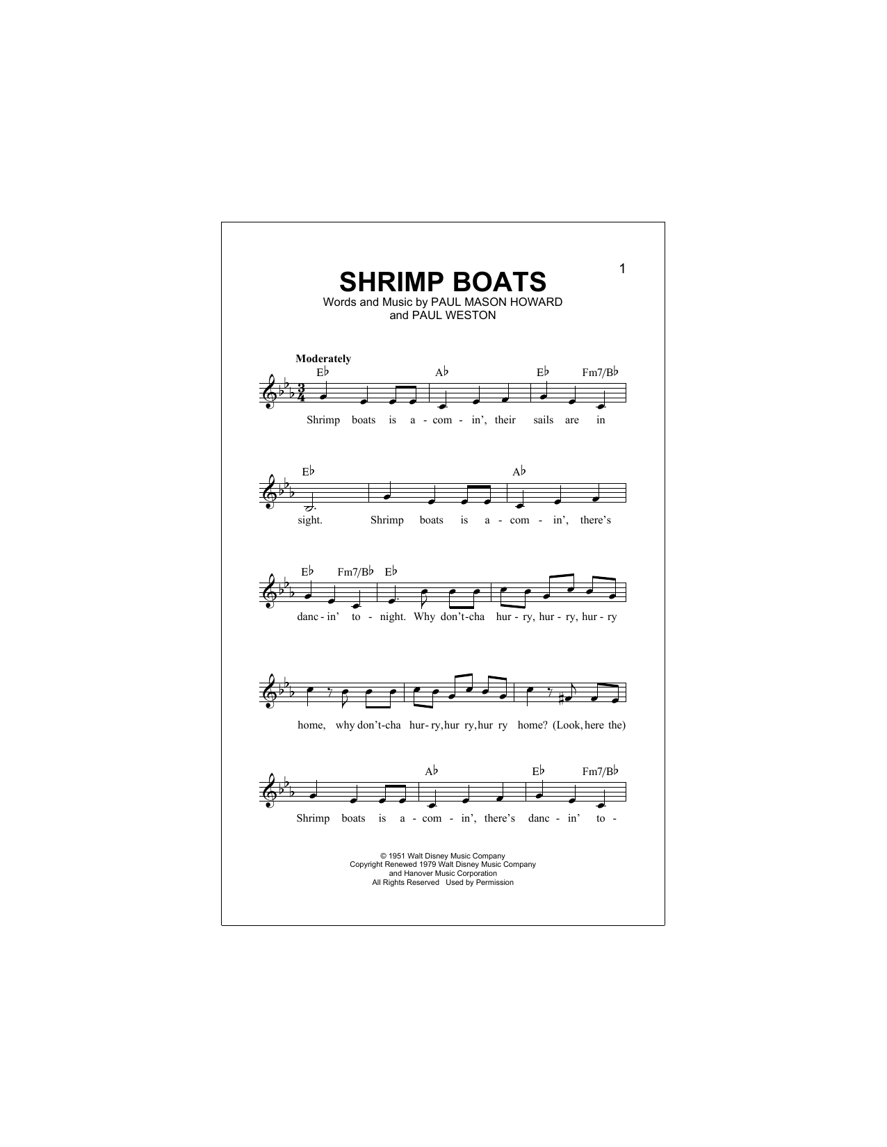 Shrimp Boats Sheet Music