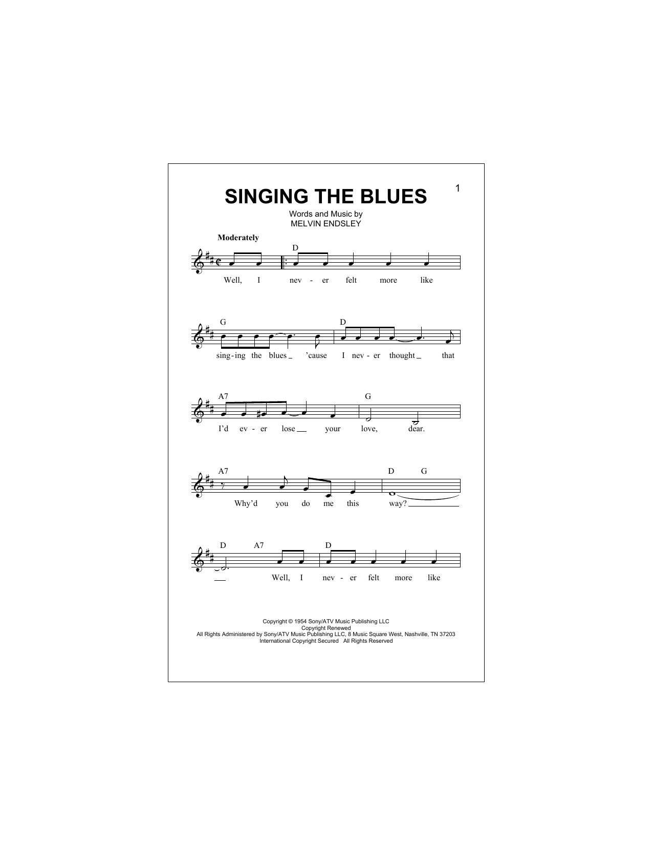 Singing The Blues (Lead Sheet / Fake Book)