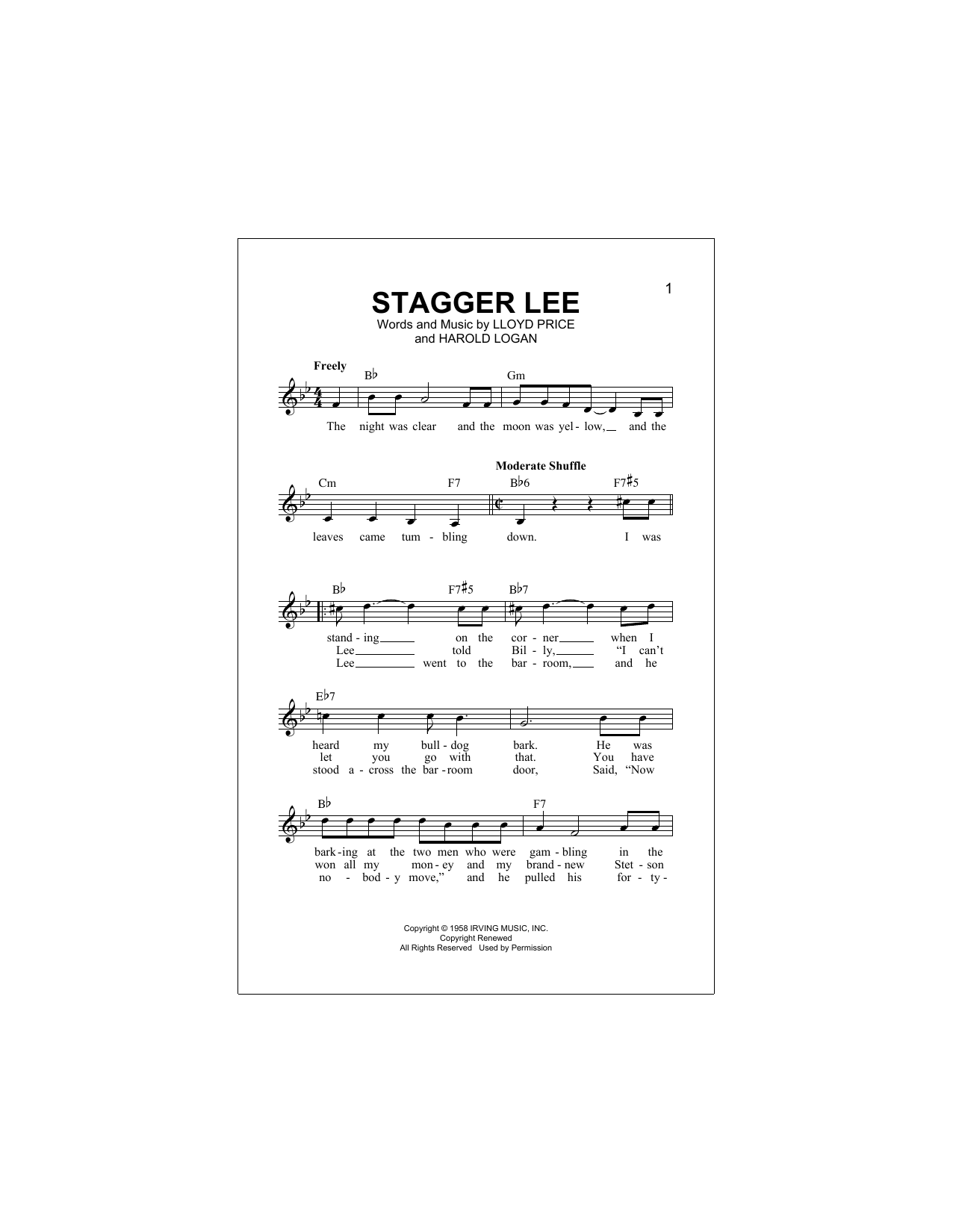 Stagger Lee Sheet Music