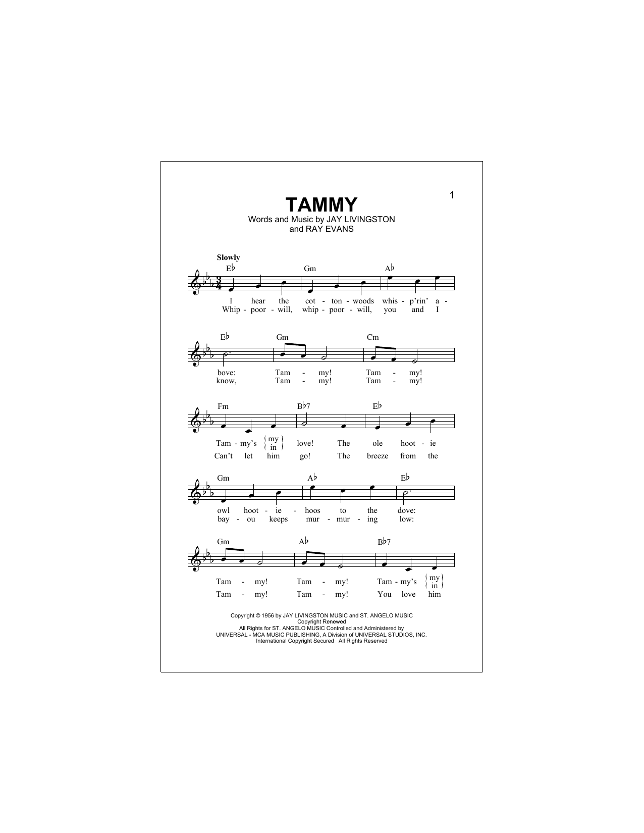 Tammy (Lead Sheet / Fake Book)