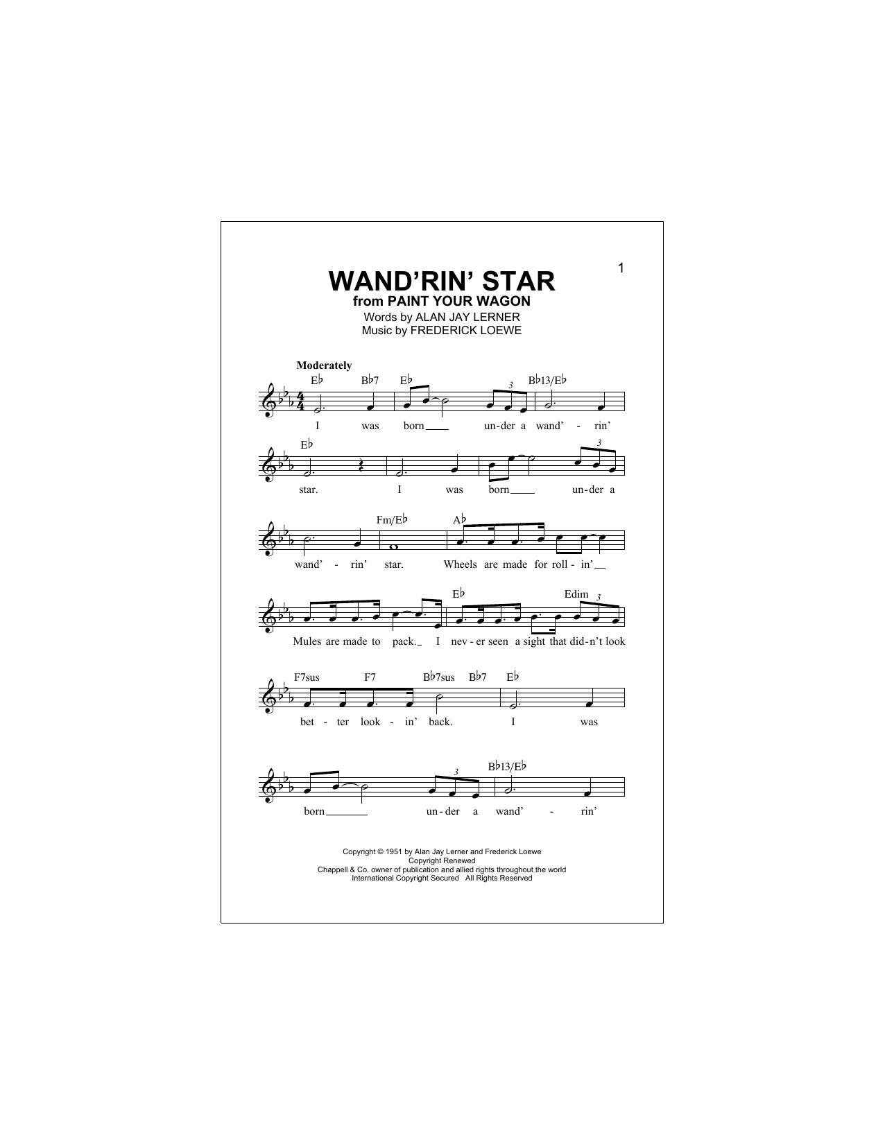 Wand'rin' Star Sheet Music