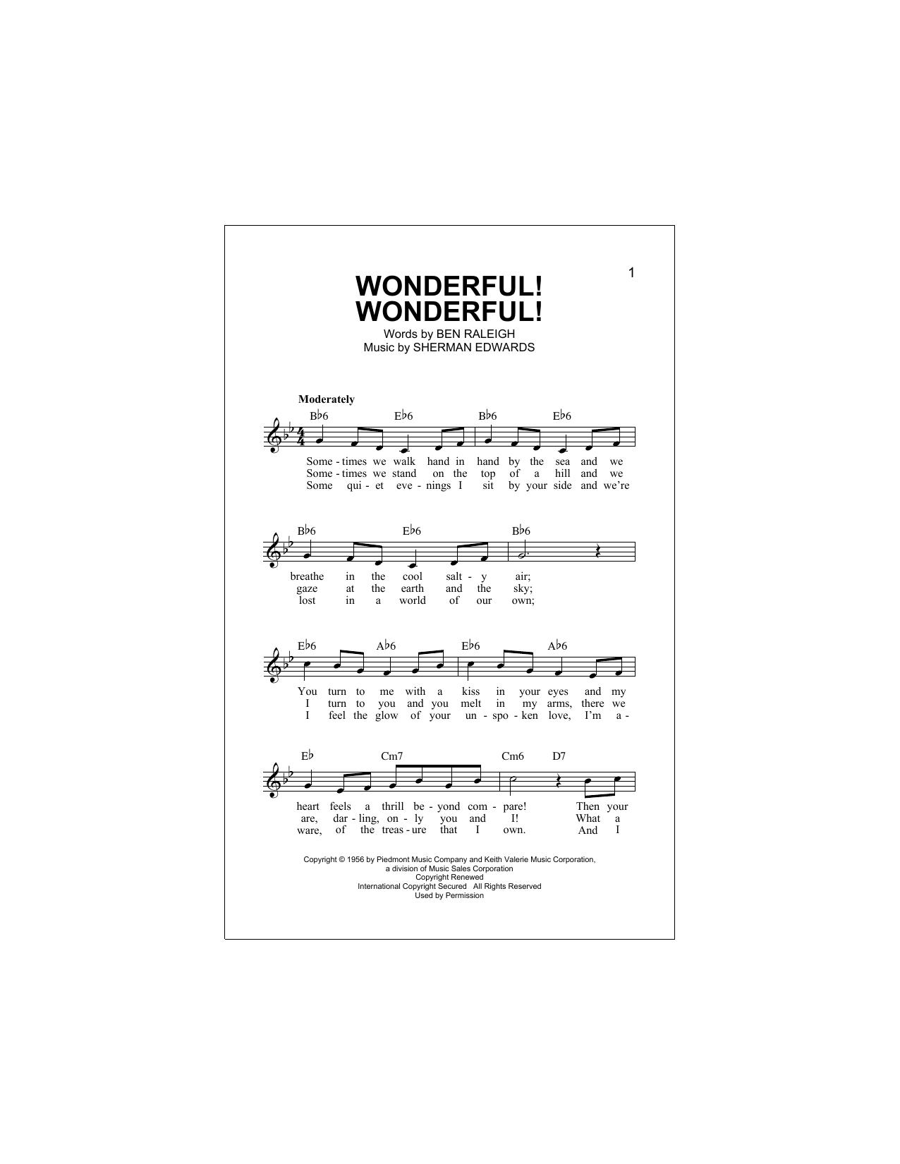 Wonderful Wonderful Chords By Johnny Mathis Melody Line Lyrics