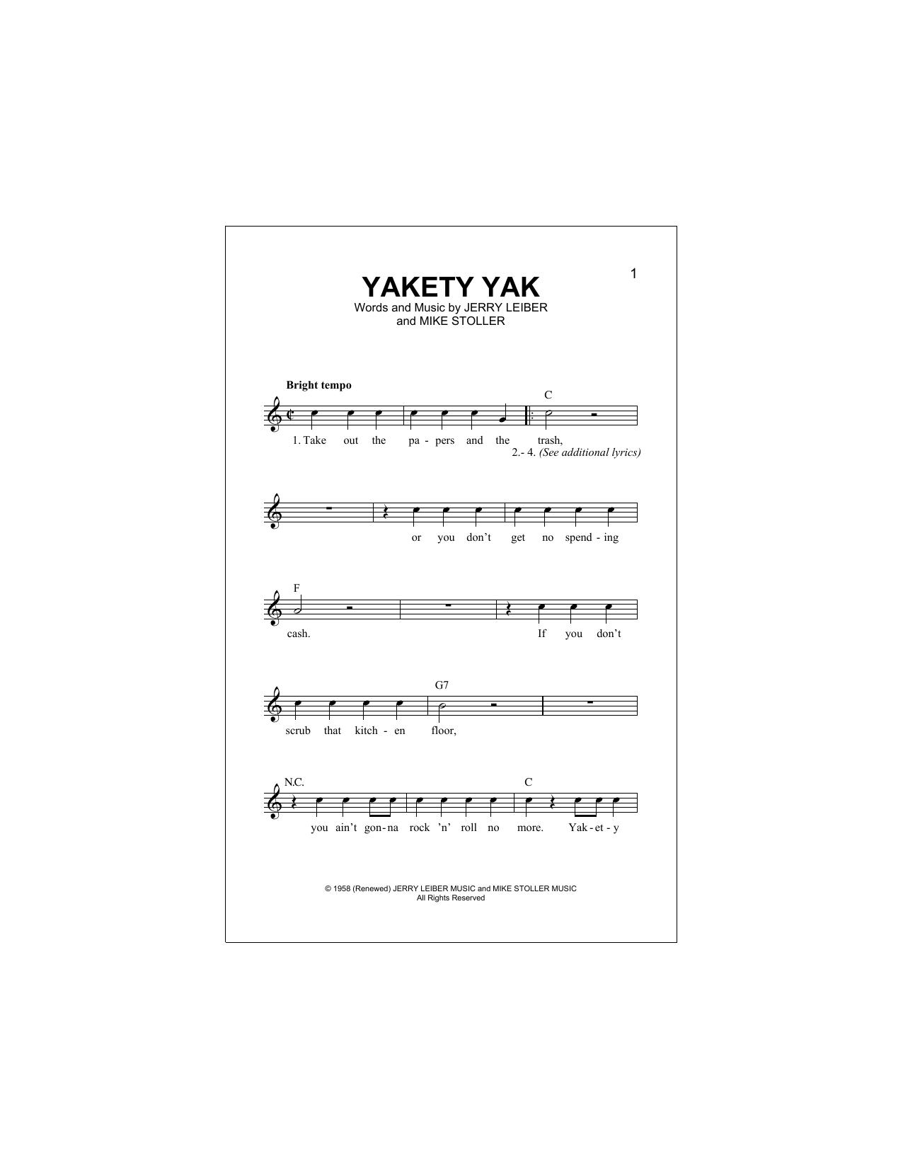 Yakety Yak Sheet Music