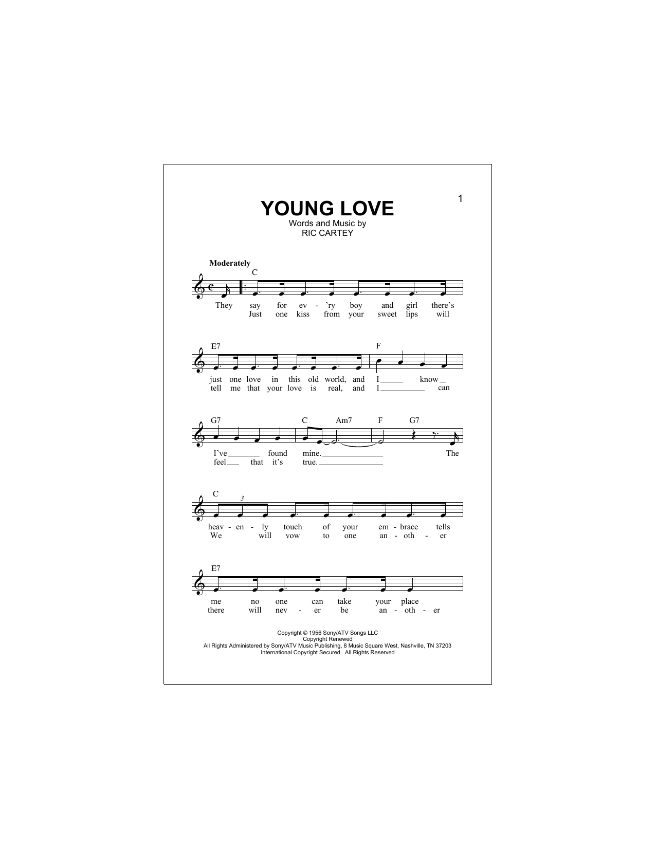 Young Love Sheet Music