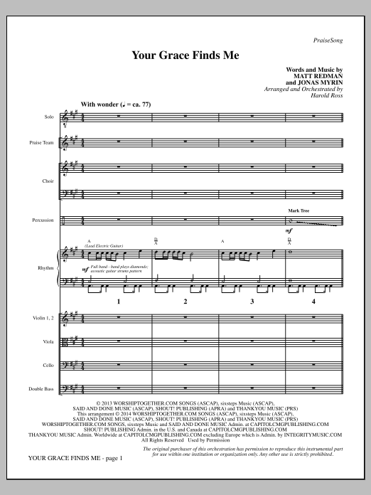 Your Grace Finds Me - Full Score Sheet Music