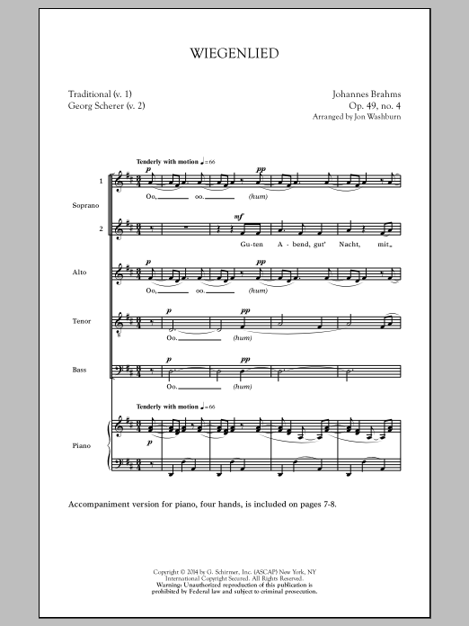 Wiegenlied (arr. Jon Washburn) Sheet Music