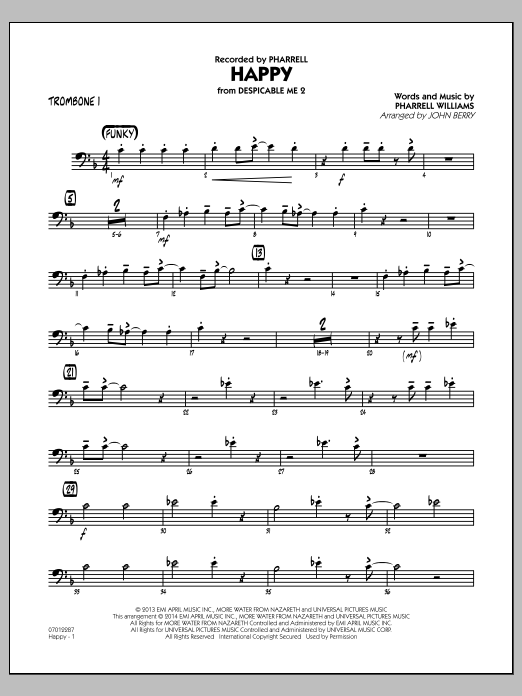 Happy (from Despicable Me 2) - Trombone 1 (Jazz Ensemble)