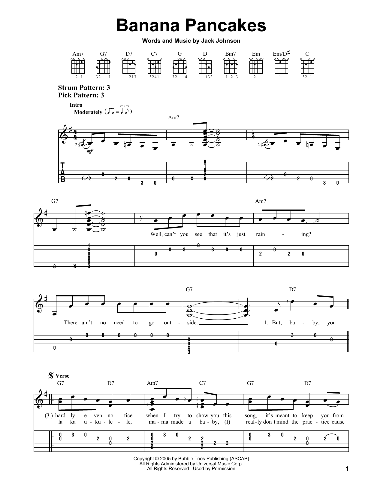 Banana Pancakes By Jack Johnson Easy Guitar Tab Guitar Instructor