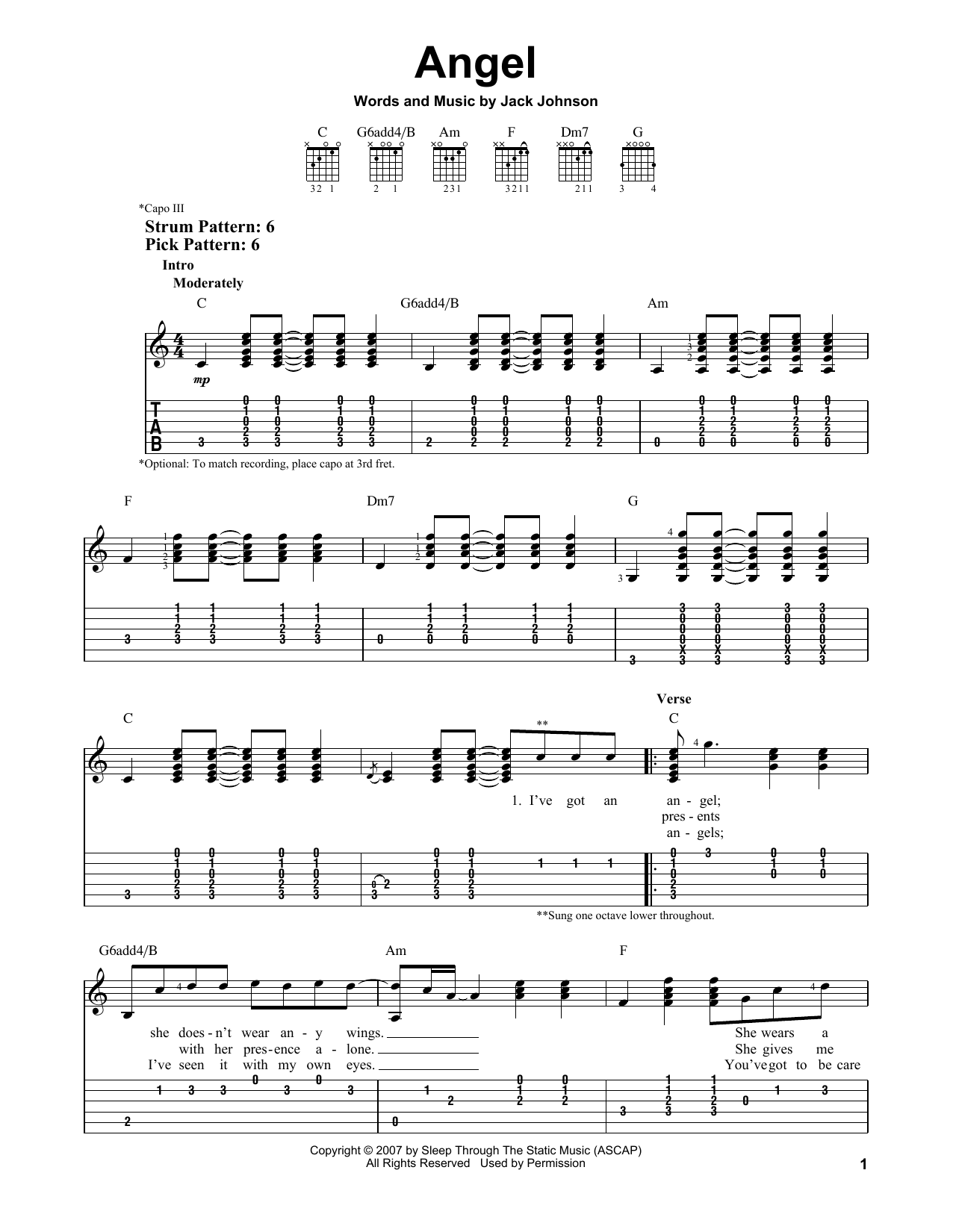 Tablature guitare Angel de Jack Johnson - Tablature guitare facile