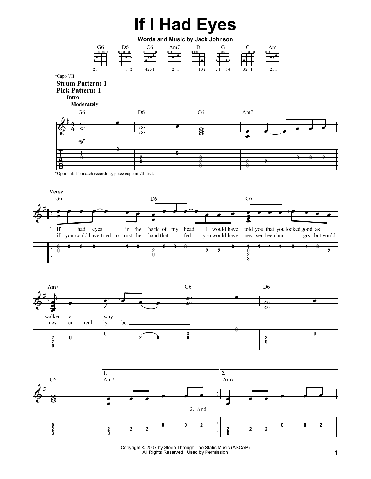 Tablature guitare If I Had Eyes de Jack Johnson - Tablature guitare facile