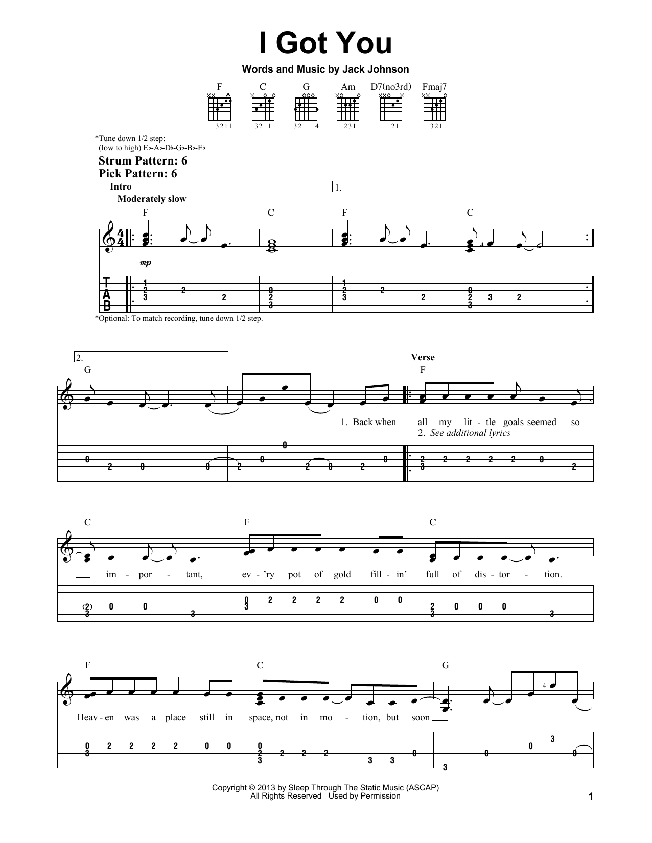 I Got You sheet music by Jack Johnson (Easy Guitar Tab u2013 154973)