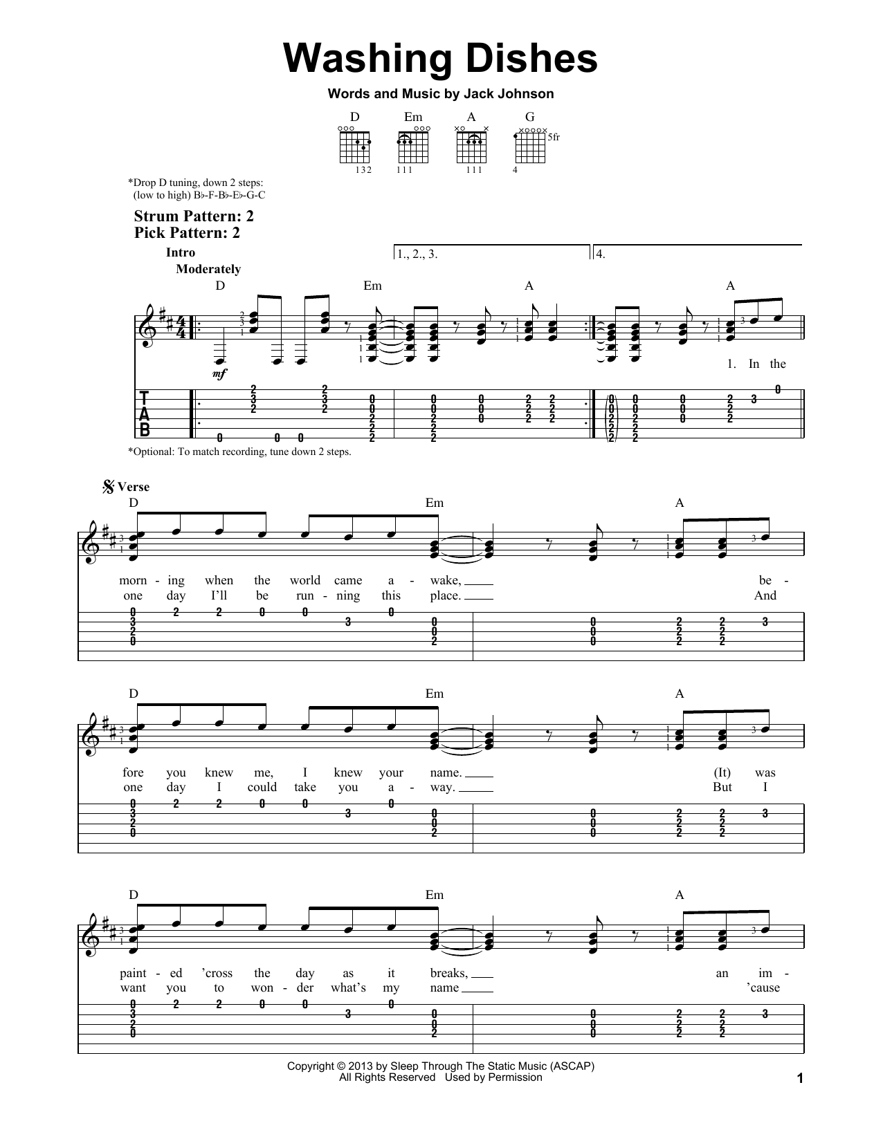 Tablature guitare Washing Dishes de Jack Johnson - Tablature guitare facile