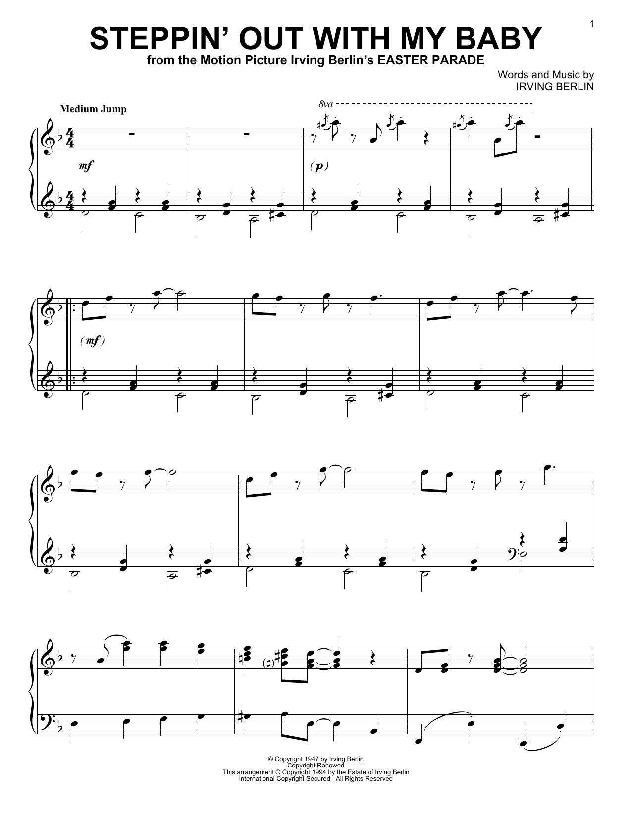 Steppin' Out With My Baby (Piano Solo)