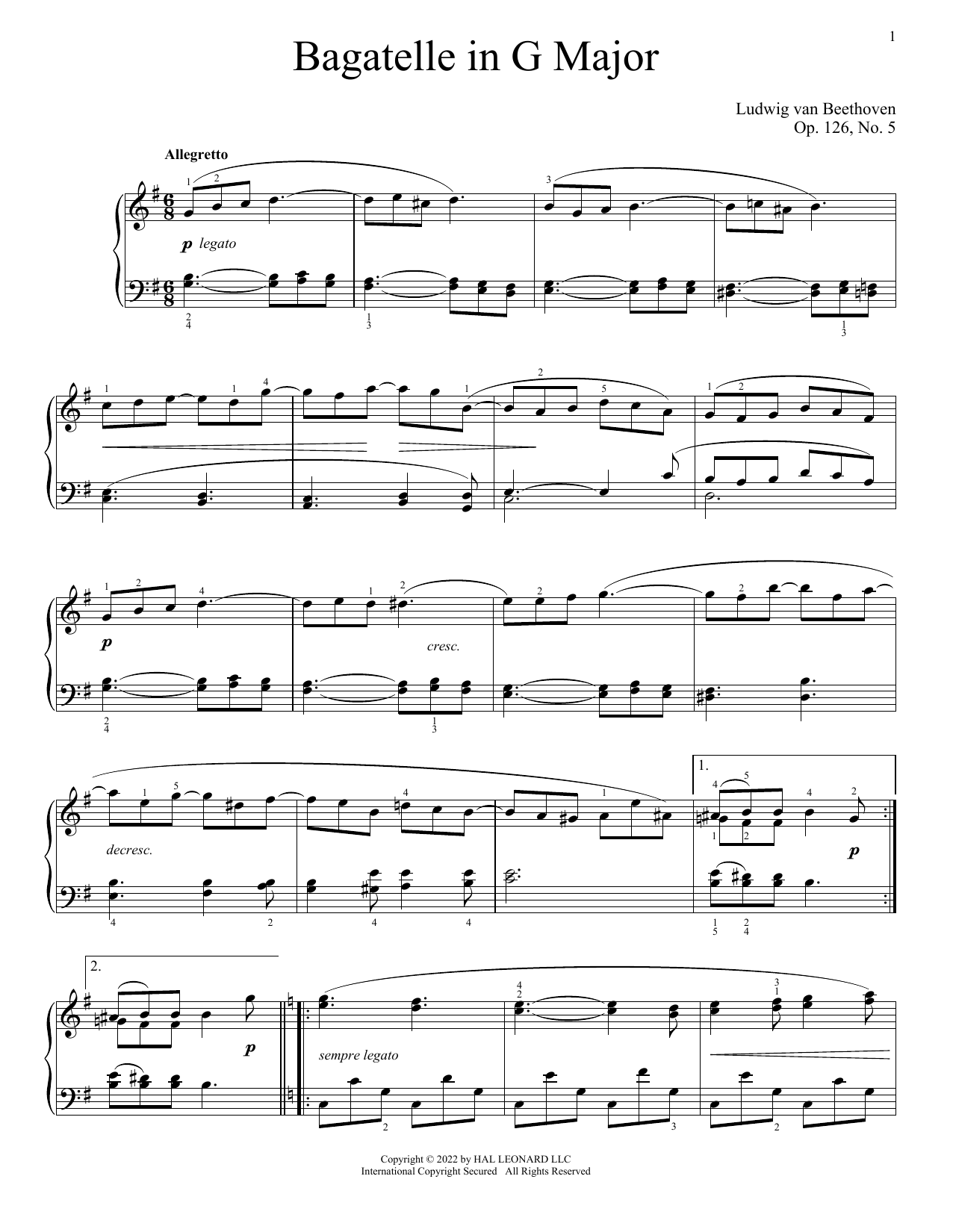 Bagatelle in G, Op. 126, No. 5 Sheet Music