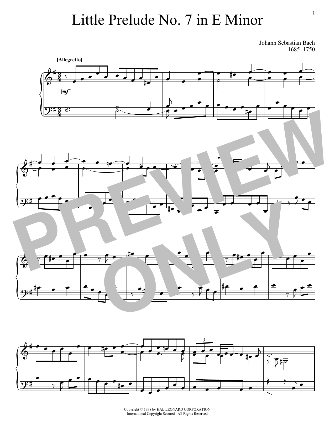 Little Prelude No. 7 in E Minor Sheet Music