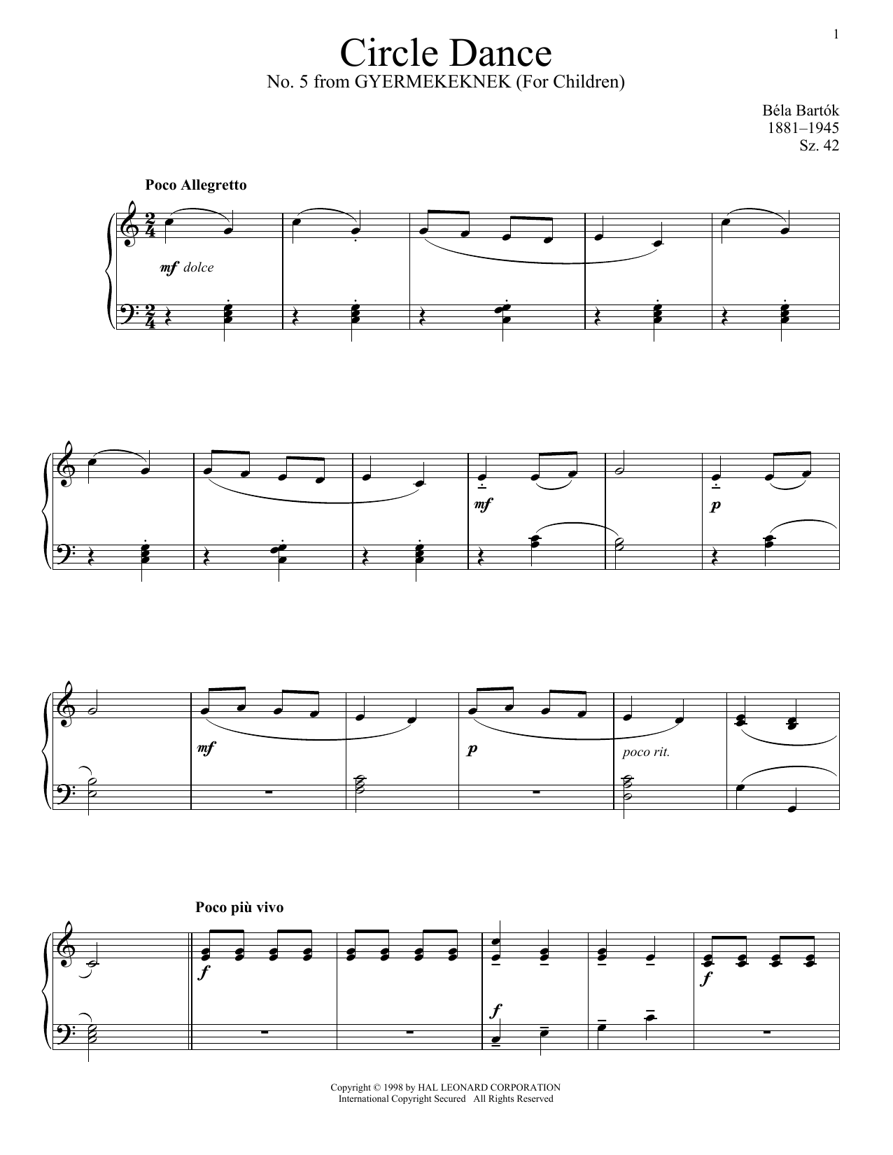 Partition piano Circle Dance de Bela Bartok - Piano Solo