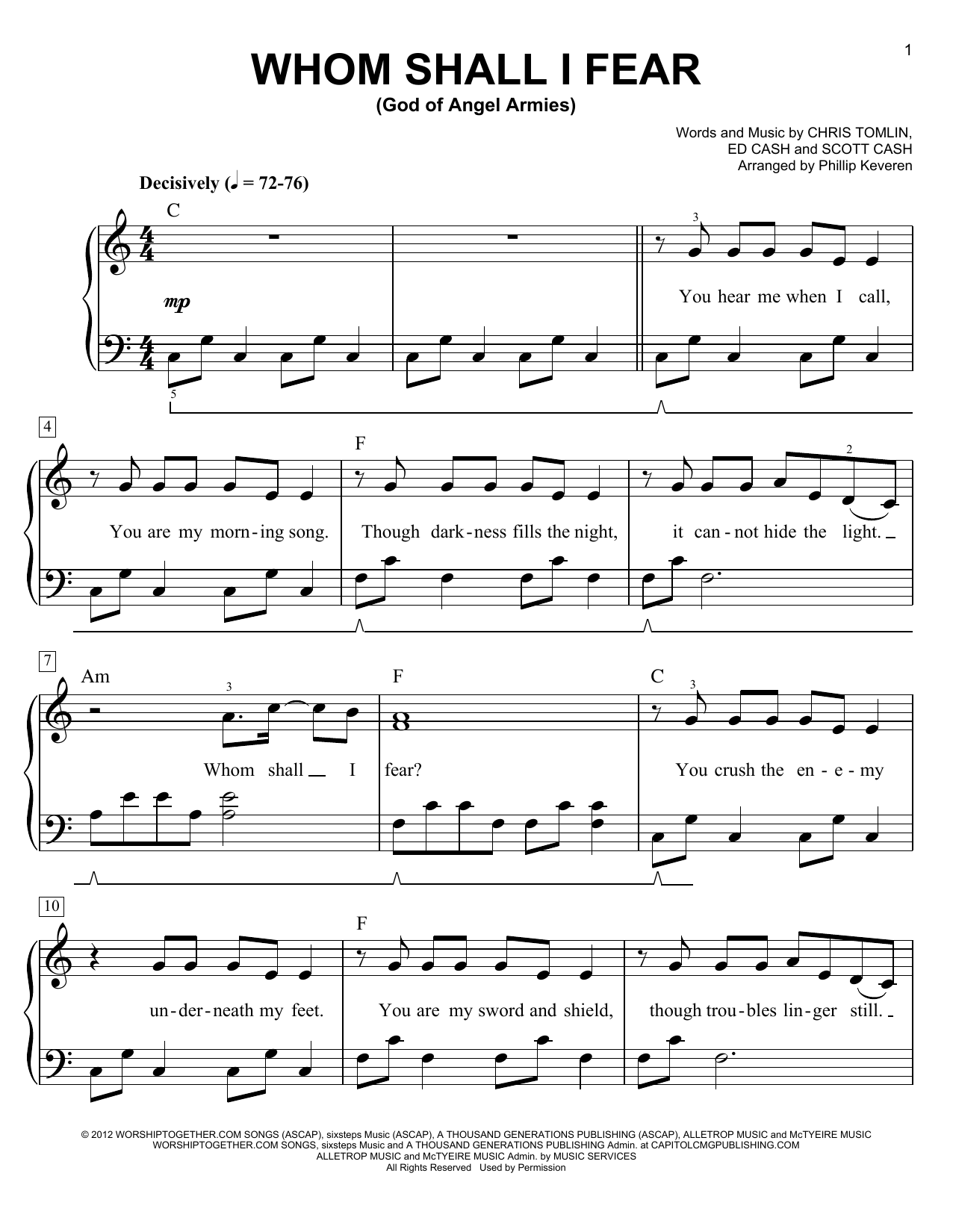 Whom Shall I Fear (God Of Angel Armies) (arr. Phillip Keveren) (Easy Piano)