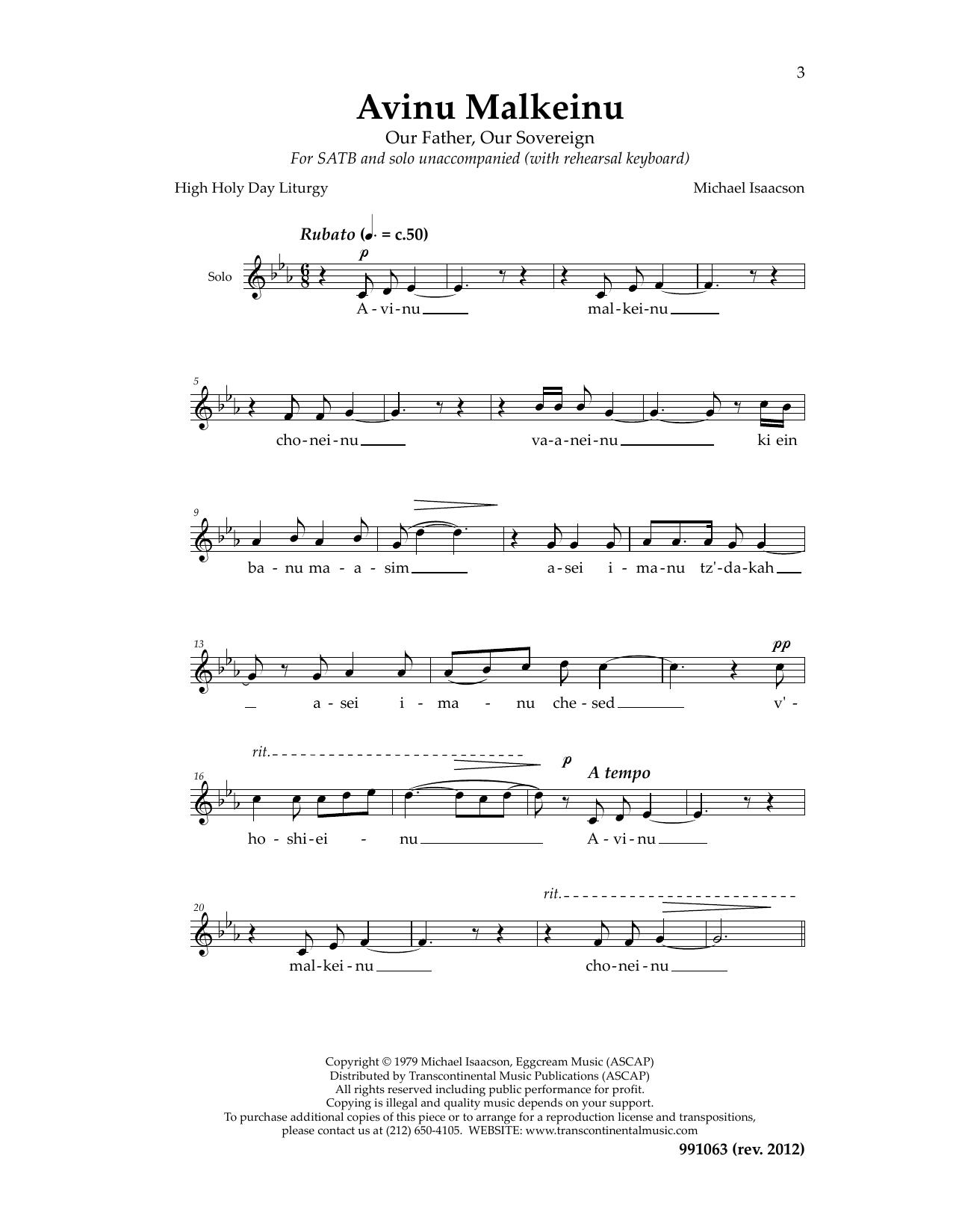 Avinu Malkeinu Cantor Sheet Music