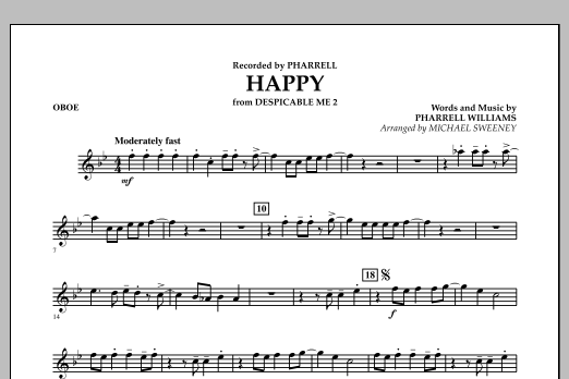 Happy (from Despicable Me 2) - Oboe (Concert Band)