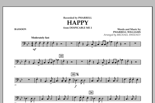 Happy (from Despicable Me 2) - Bassoon (Concert Band)