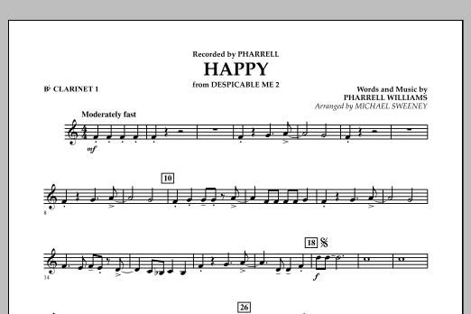 Happy (from Despicable Me 2) - Bb Clarinet 1 (Concert Band)