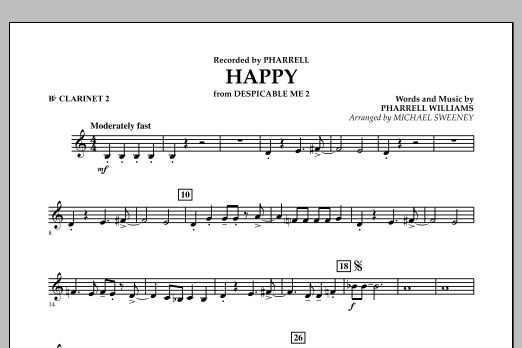 Happy (from Despicable Me 2) - Bb Clarinet 2 (Concert Band)