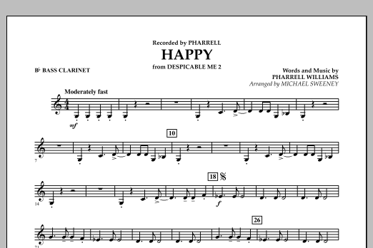 Happy (from Despicable Me 2) - Bb Bass Clarinet (Concert Band)