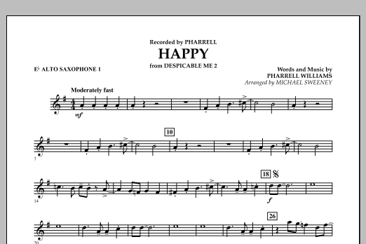 Happy (from Despicable Me 2) - Eb Alto Saxophone 1 (Concert Band)