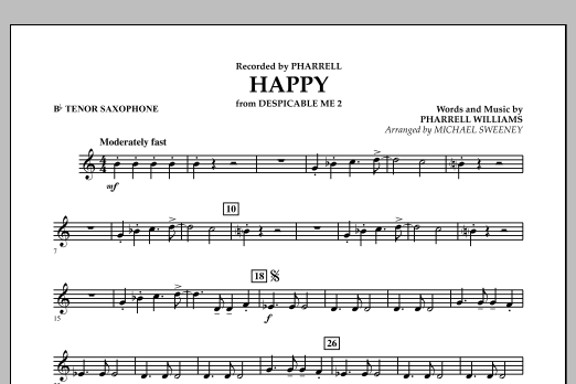 Happy (from Despicable Me 2) - Bb Tenor Saxophone (Concert Band)