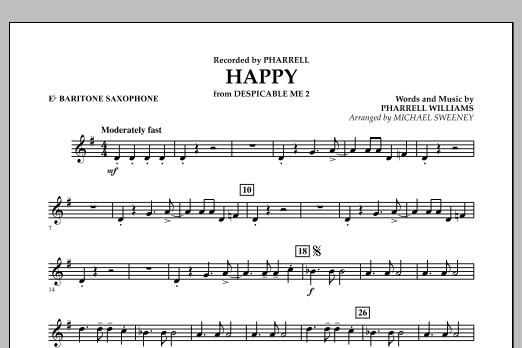Happy (from Despicable Me 2) - Eb Baritone Saxophone (Concert Band)