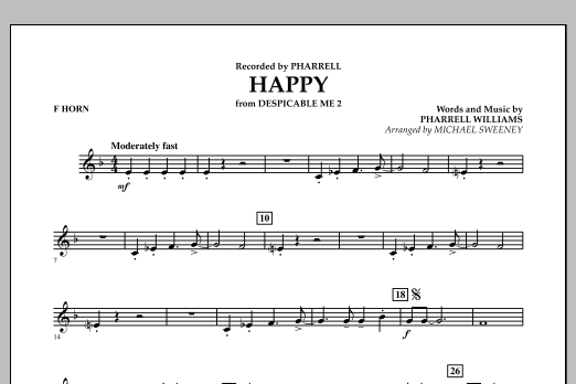 Happy (from Despicable Me 2) - F Horn (Concert Band)