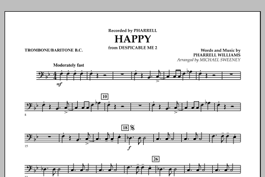 Happy (from Despicable Me 2) - Trombone/Baritone B.C. (Concert Band)