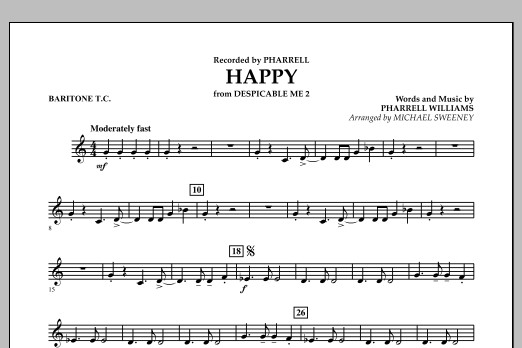 Happy (from Despicable Me 2) - Baritone T.C. (Concert Band)
