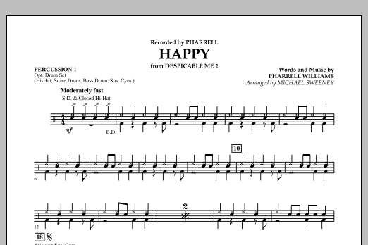 Happy (from Despicable Me 2) - Percussion 1 (Concert Band)