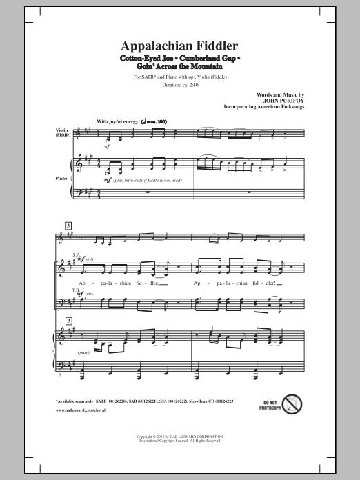 Partition chorale Appalachian Fiddler (Medley) de John Purifoy - SATB