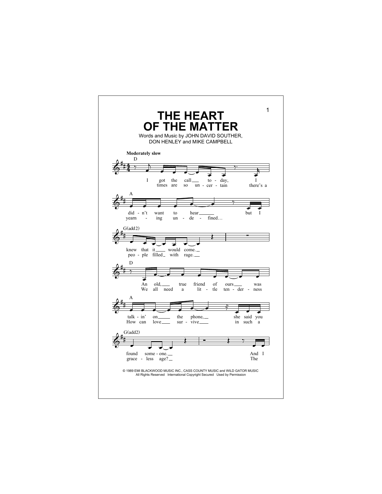 The Heart Of The Matter (Lead Sheet / Fake Book)
