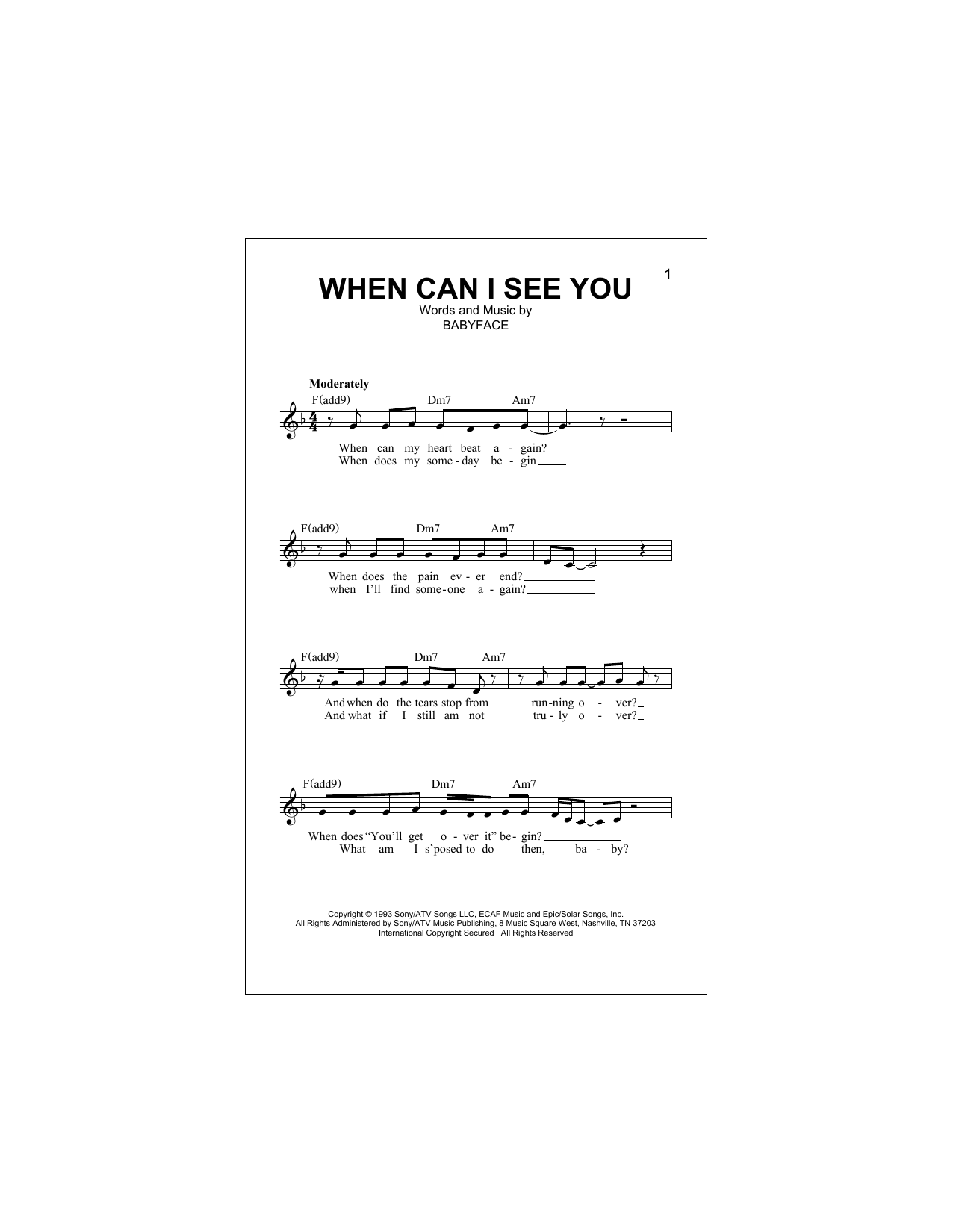 When Can I See You (Lead Sheet / Fake Book)