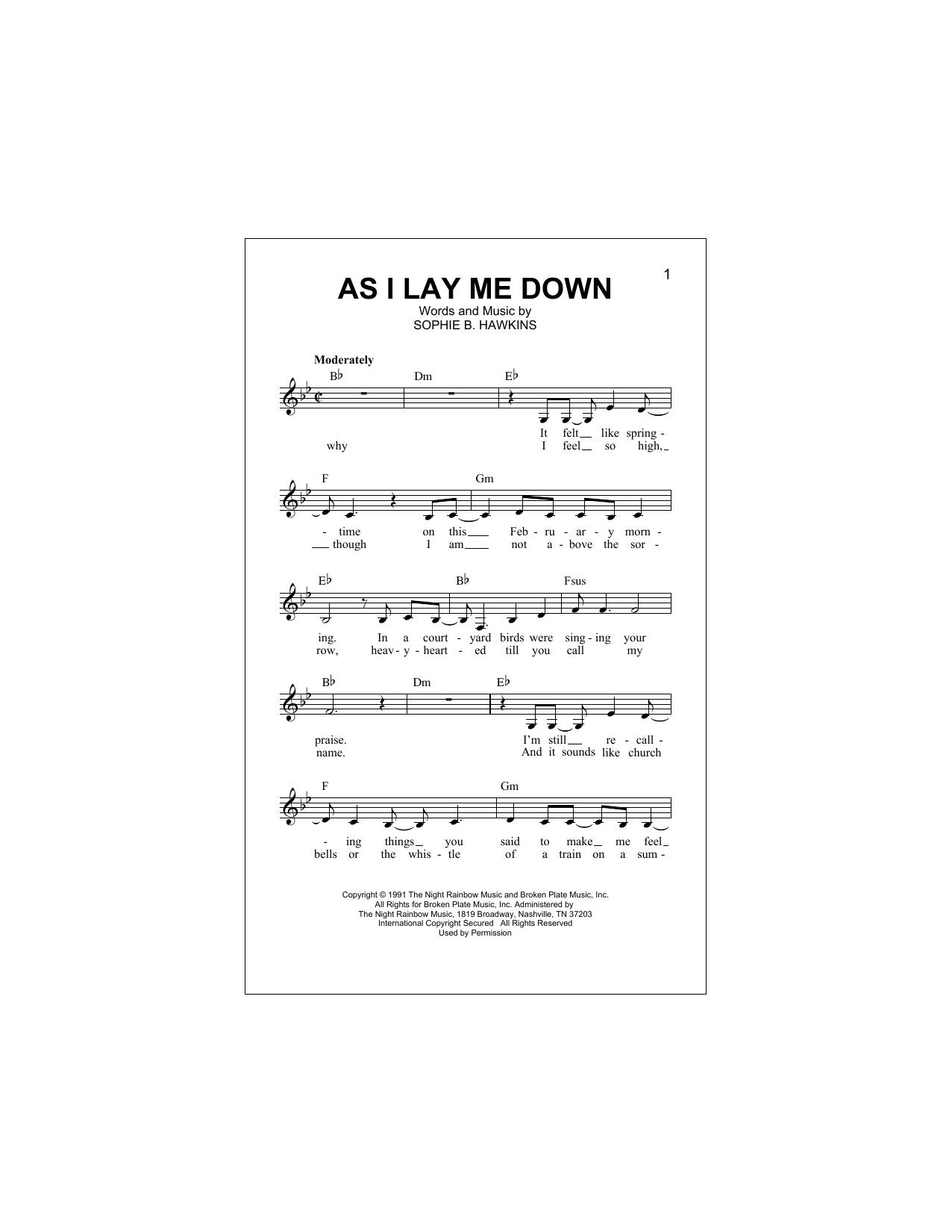 As I Lay Me Down Sheet Music