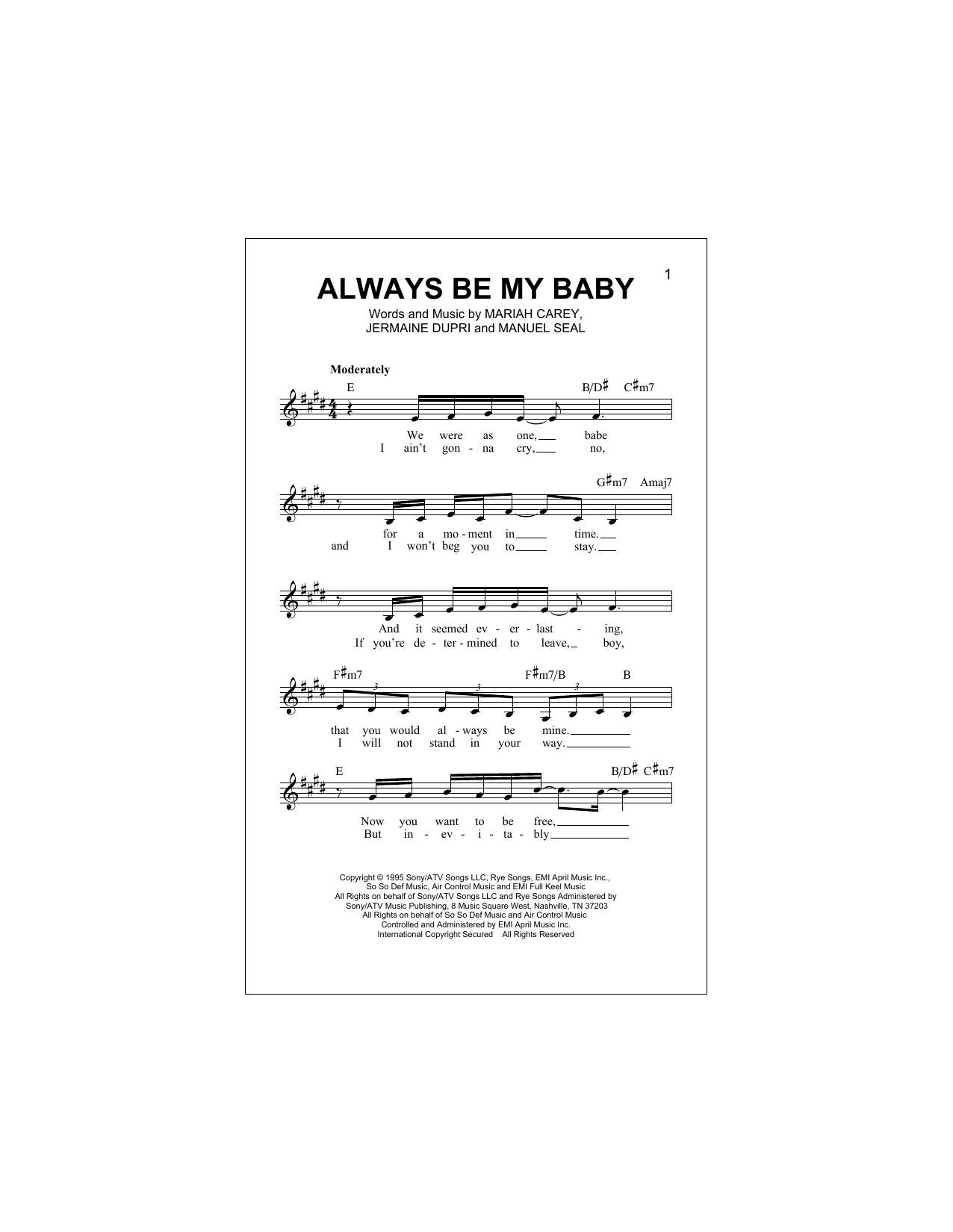 Always Be My Baby (Lead Sheet / Fake Book)