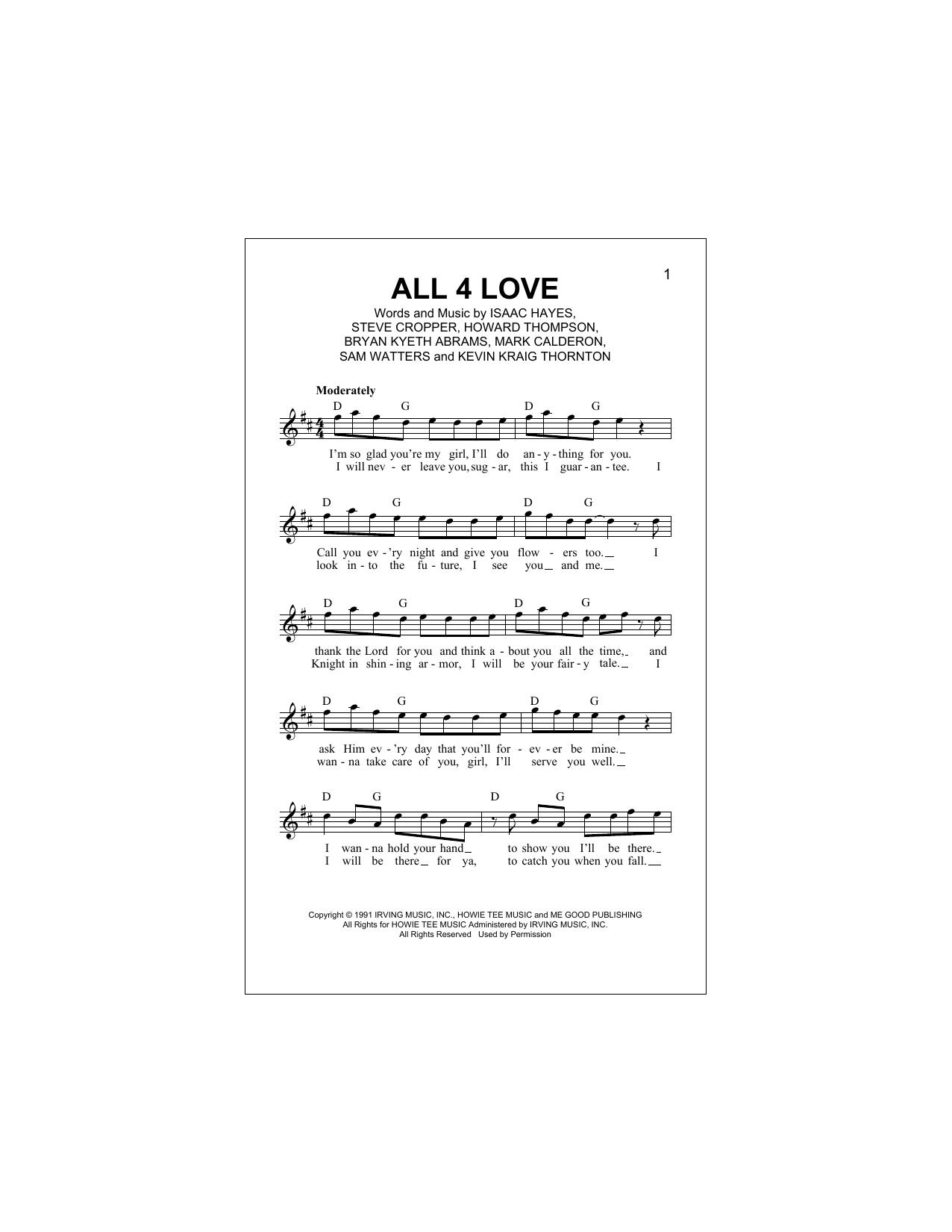All 4 Love (Lead Sheet / Fake Book)