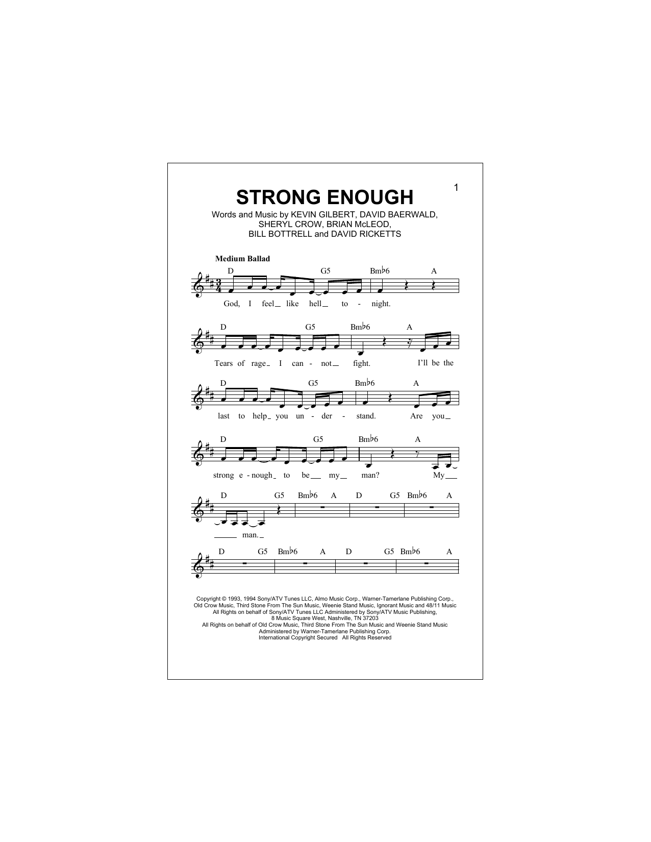 Strong Enough (Lead Sheet / Fake Book)