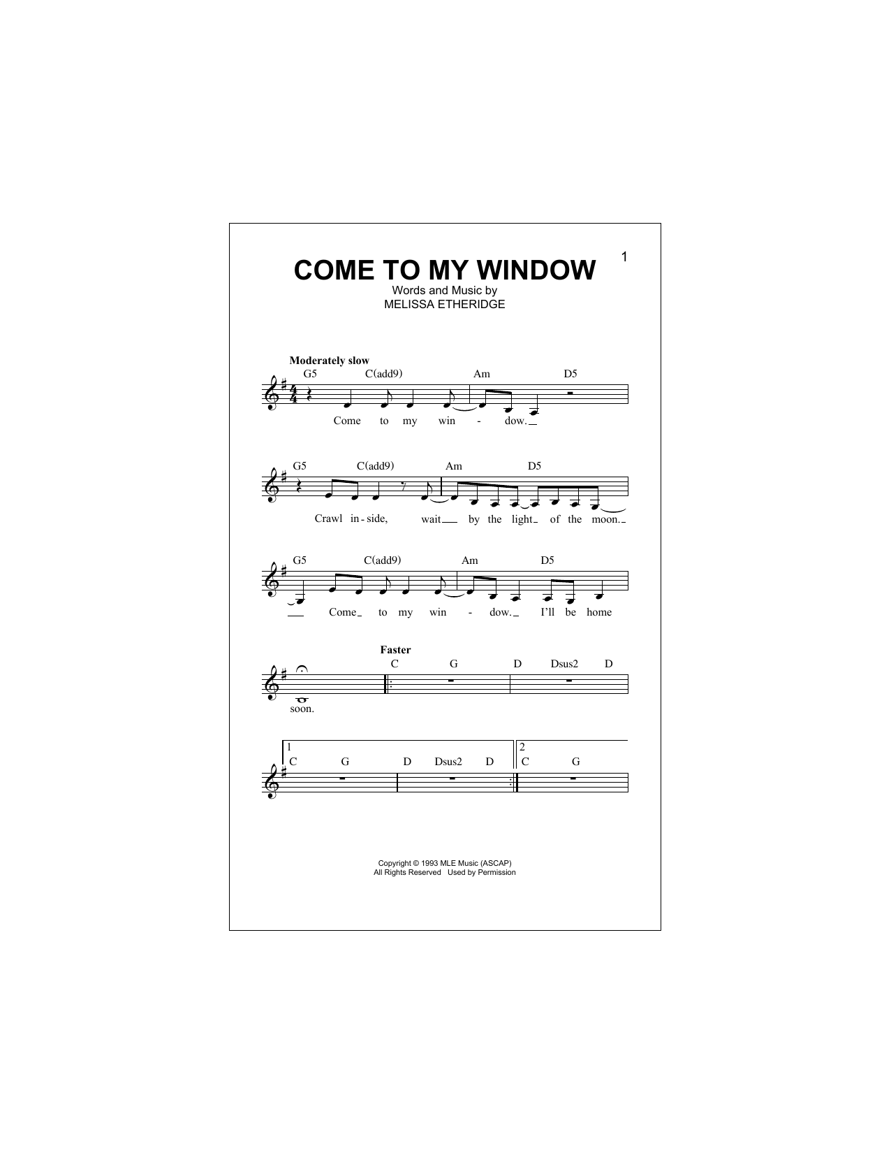 Come To My Window Sheet Music